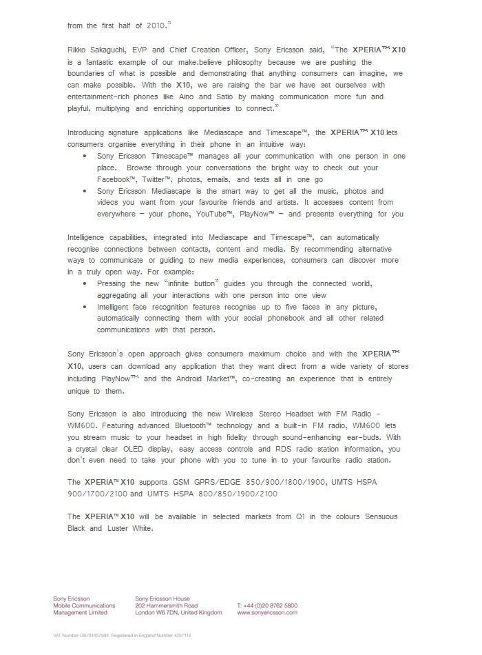 Xperia X10_Spec Sheet
