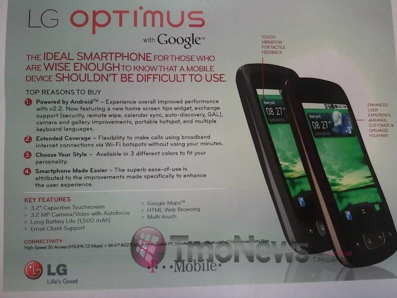 LG Optimus details emerge – has wifi calling ability | TalkAndroid com