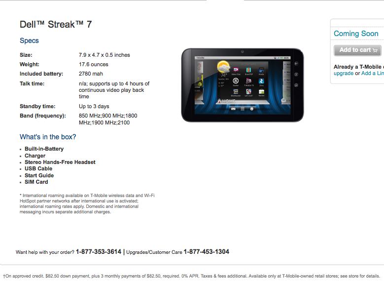 update technical error dell streak 7 pricing leaked tmonews rh tmonews com Dell Streak Phone Dell Streak 7 Forum