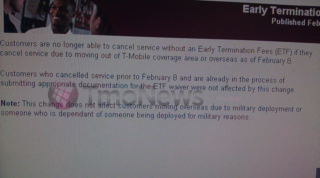 T mobile changes early termination policy tmonews last week t mobile modified its early termination fees etf policy customers will no longer be able to cancel service without an etf when moving out of a sciox Gallery