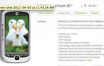 android 2.2 froyo update for mytouch 3g slide