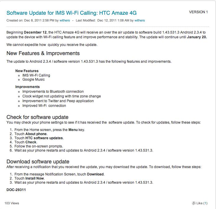 T-Mobile Posts Full Breakdown For HTC Amaze 4G Update, Wi-Fi