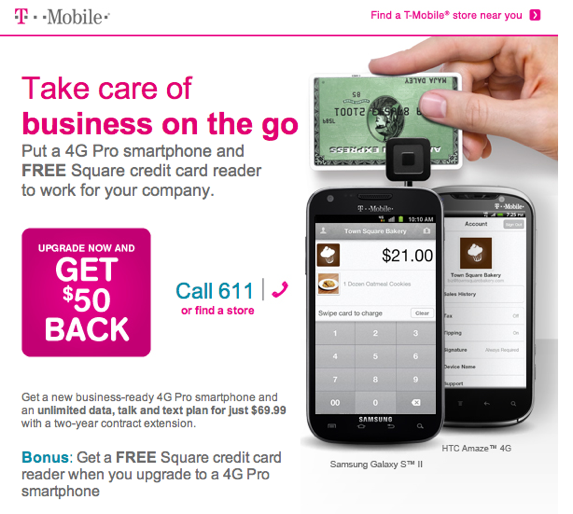 T-Mobile Offering Square Payment Readers With 4G Smartphone