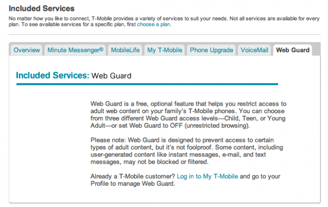 T mobile web guard off