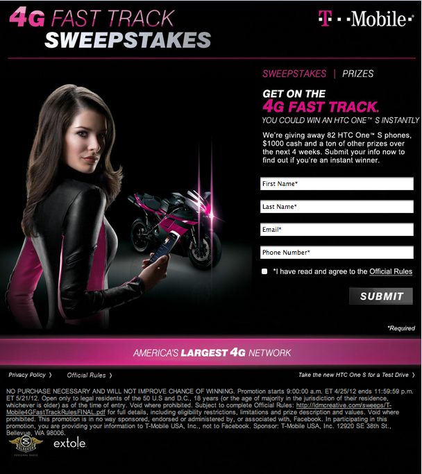 T-Mobile Facebook Sweepstakes Is Giving Away 82 HTC One S