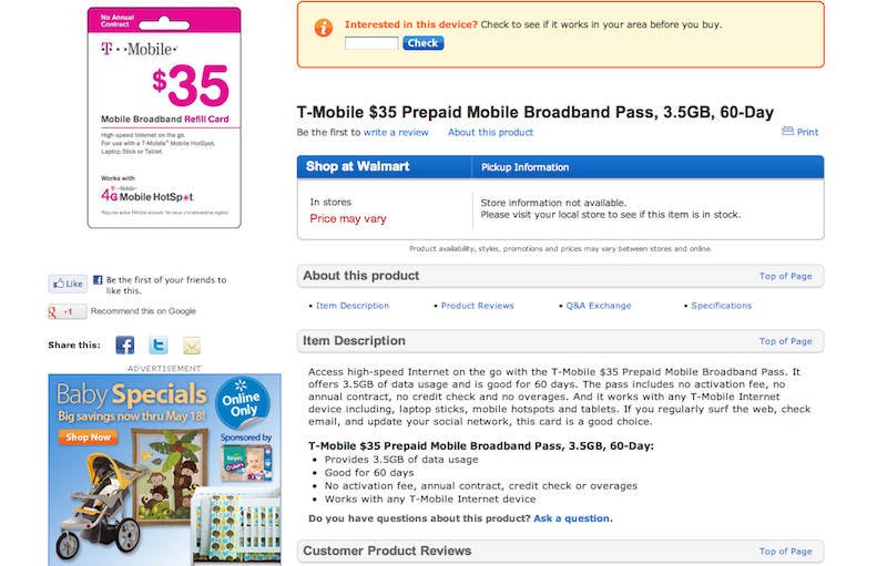 Walmart Prepaid Internet