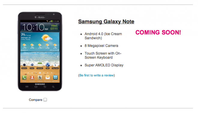 t mobile places samsung galaxy note online as coming soon. Black Bedroom Furniture Sets. Home Design Ideas