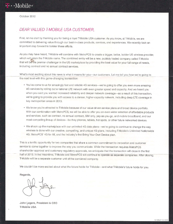 T Mobile Sends Letter To Customers Explaining MetroPCS