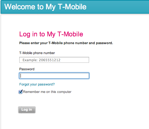 Welcome. You're logging in to your T-Mobile account