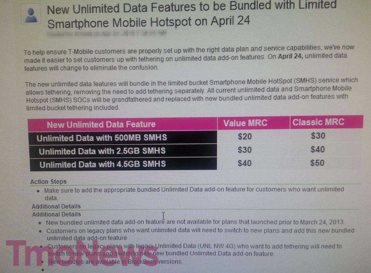 T-Mobile Will Begin Bundling Unlimited Plan And Tethering