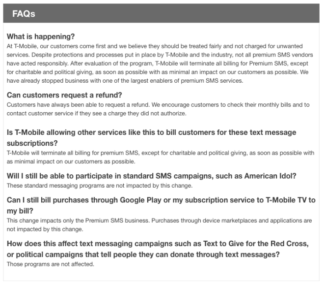 T-Mobile ending premium text message billing in order to