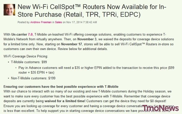 You can now purchase T-Mobile Wi-Fi CellSpot Routers to own in-store