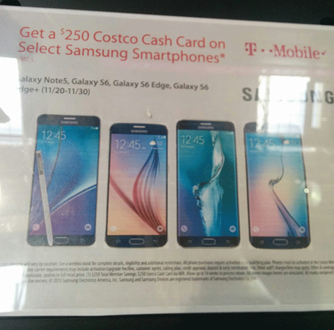 Costco offering $250 gift card with purchase of T-Mobile Galaxy Note 5,  Galaxy S6, S6 edge, or S6 edge+ - TmoNews