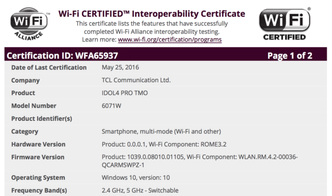 Alcatel Idol 4 Pro Wi-Fi certification hints at T-Mobile release