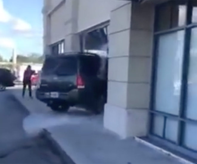 Florida woman drives SUV into T-Mobile store, says she was