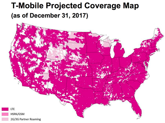 TMobile Shares Projected Coverage Map For End Of TmoNews - Cellular signal strength map