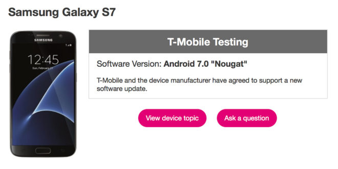 tmobilegalaxys7android70testing