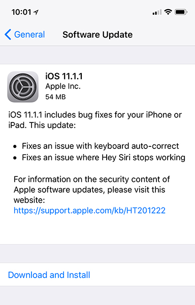 iOS 11.1.1 Aucto-correct bug fix